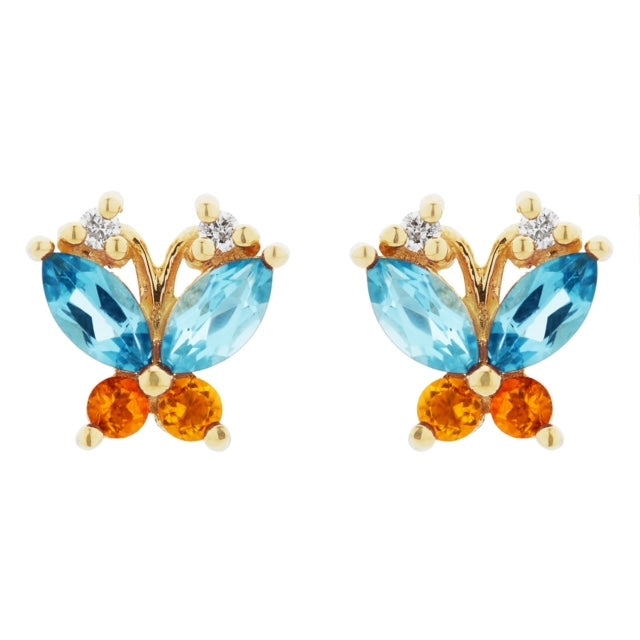 Volare blue topaz and citrine butterfly studs