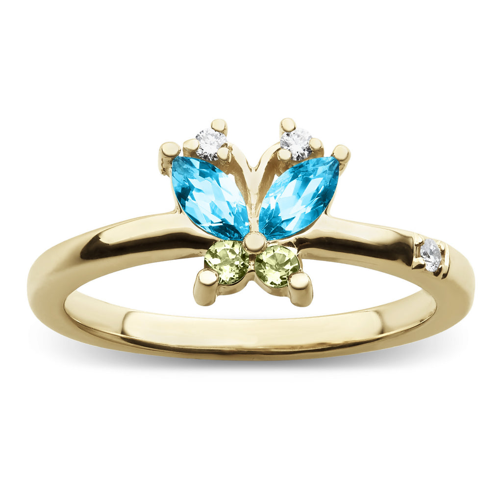 Large volare butterfly blue topaz and peridot cocktail ring