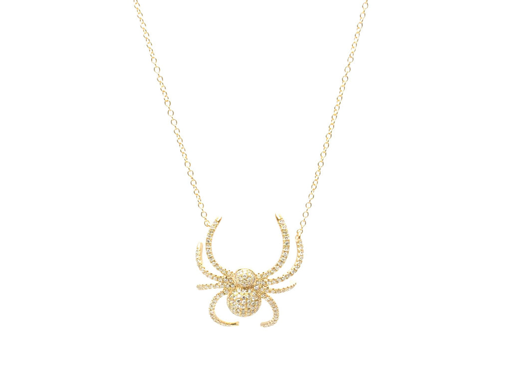 Pave Diamond Spider Necklace