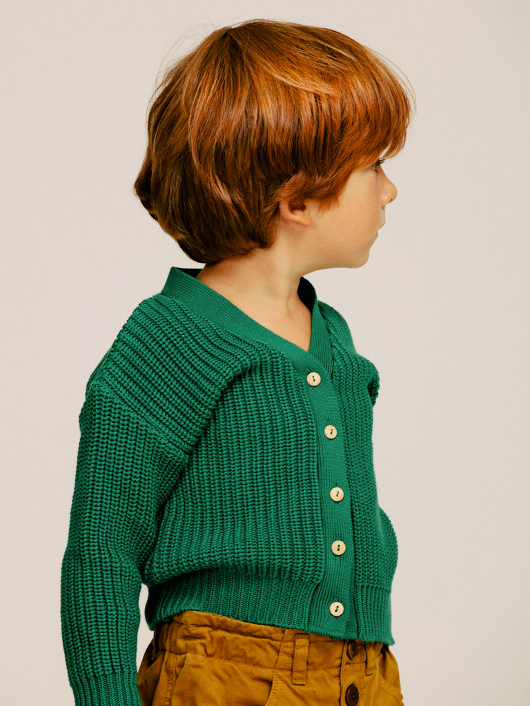 Green Cardigan knitwear stripes