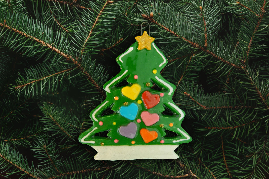 Christmas Tree with Colored Hearts