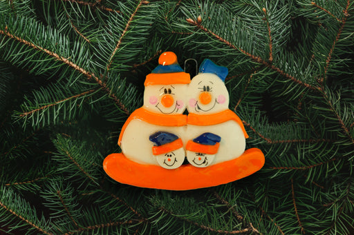 Snowman Family Orange Blue
