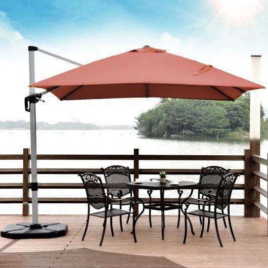 10 Ft 360 Degree Tilt Aluminum Square Patio Offset Cantilever Umbrella-Brick Red