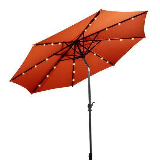 10 ft Patio Solar Umbrella with Crank and LED Lights-Orange