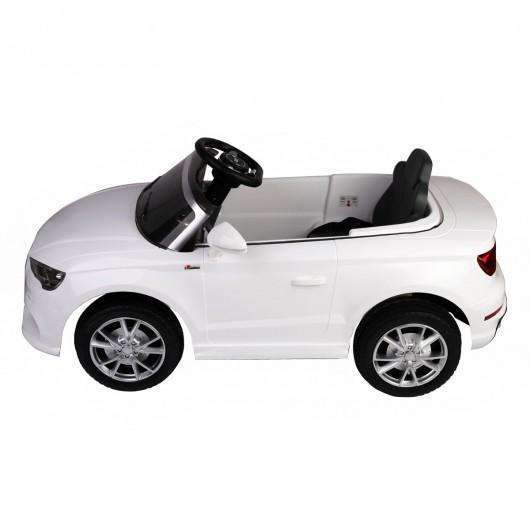 12 V Audi A3 Kids Ride on Car with RC + LED Light + Music-White