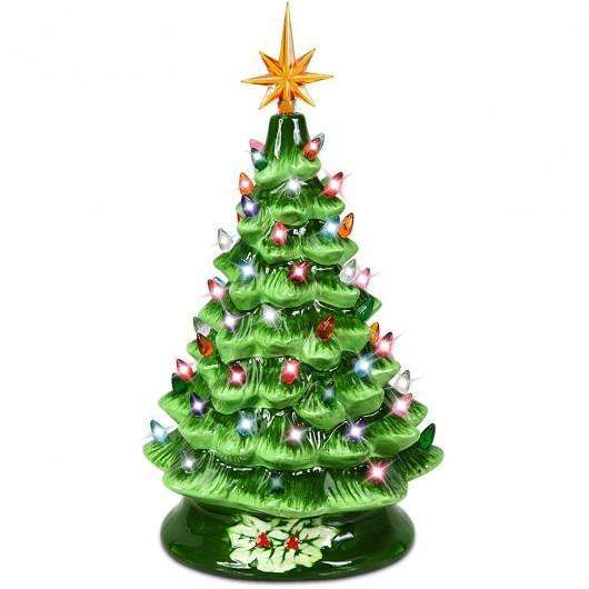 "15"" Pre-Lit Hand-Painted Ceramic Christmas Tree-Green"