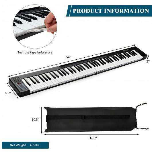 2 in 1 Attachable Digital Piano Keyboard 88-44 Touch sensitive Key with MIDI-Black