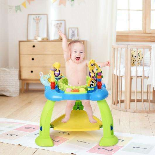2-in-1 Baby Jumperoo Adjustable Sit-to-stand Activity Center-Green