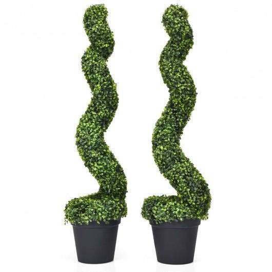 2 pcs 4 ft Artificial Boxwood Decoration Spiral Tree