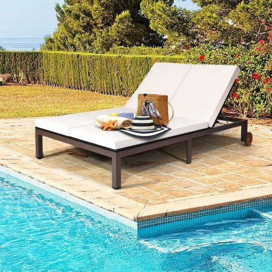 2-Person Patio Rattan Lounge Chair with Adjustable Backrest-White