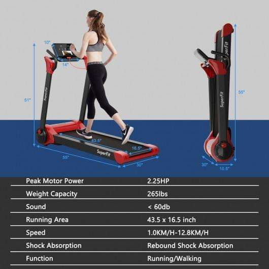 2.25 HP Electric Motorized Folding Running Treadmill Machine with LED Display-Red