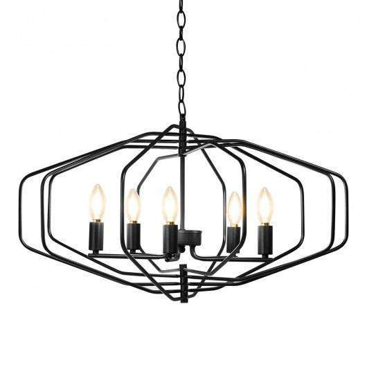 "28"" Folding Rotatable Chandelier 5 Lights Metal Ceiling Lamp"