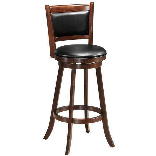 "29"" Swivel Bar Height Stool Wooden Upholstered Dining Chair"