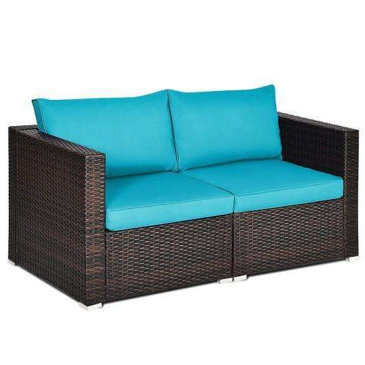 2PCS Patio Rattan Sectional Conversation Sofa Set-Blue