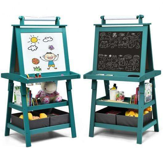3 in 1 Double-Sided Storage Art Easel-Green