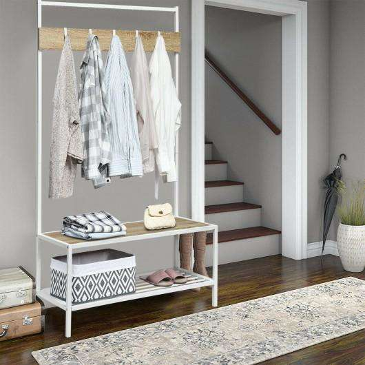 3 in 1 Industrial Coat Rack with 2-tier Storage Bench and 5 Hooks-Natural