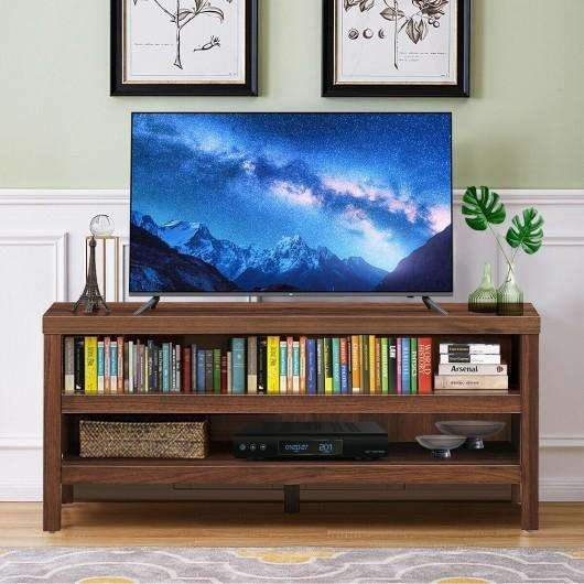 "3-Tier TV Stand Console Cabinet for TV's up to 45"" with Storage Shelves-Walnut"