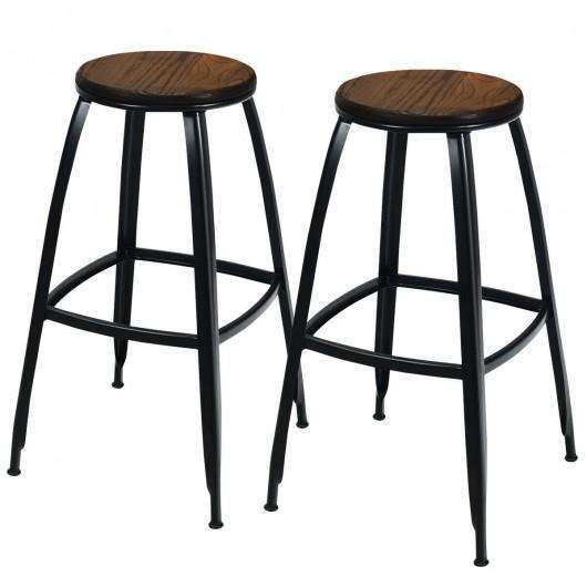 "30"" Set of 2 Industrial Height Bar Stools"