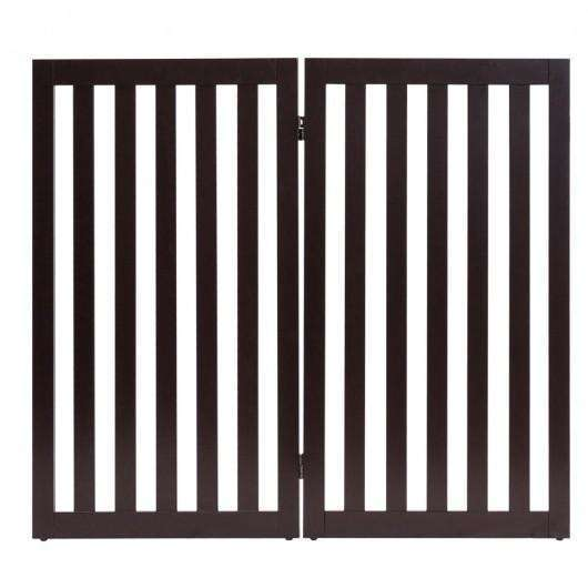 "35"" Folding Standing 2-4 Panel Wood Pet Fence-Brown-A"