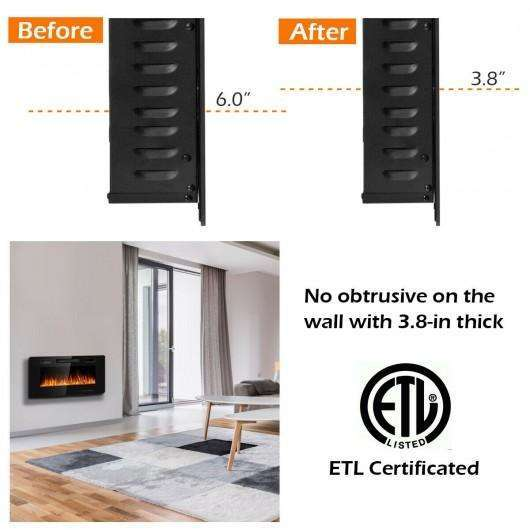 "36"" Recessed Ultra Thin Wall Mounted Electric Fireplace"
