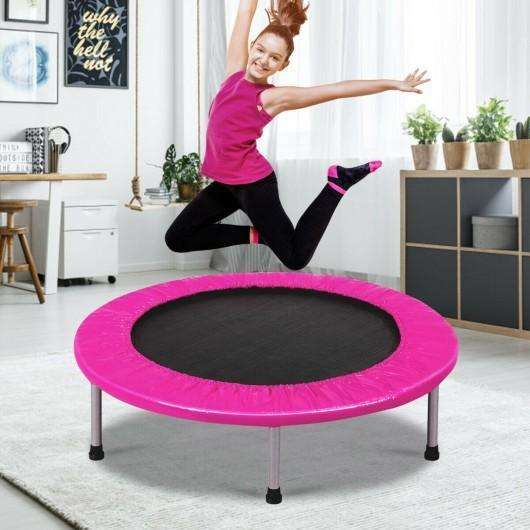 "38"" Rebounder Trampoline Adults and Kids Exercise Workout with Padding and Springs-Pink"
