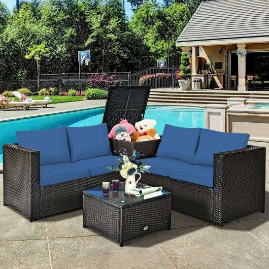 4 Pcs Outdoor Patio Rattan Furniture Set with Cushioned Loveseat and Storage Box-Navy