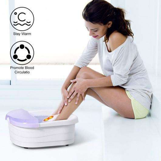4 Rollers Bubble Heating Foot Spa Massager