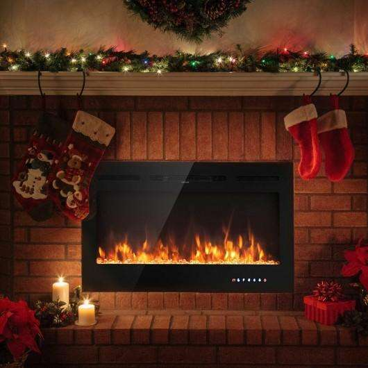 "40 "" Electric Fireplace Recessed Wall Mounted with Multicolor Flame"