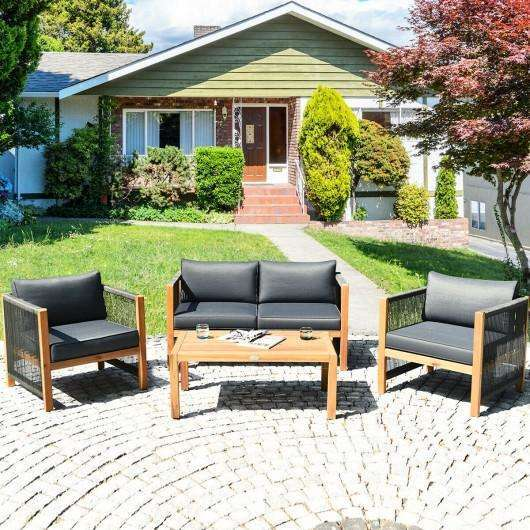 4pcs Acacia Wood Outdoor Patio Furniture Set