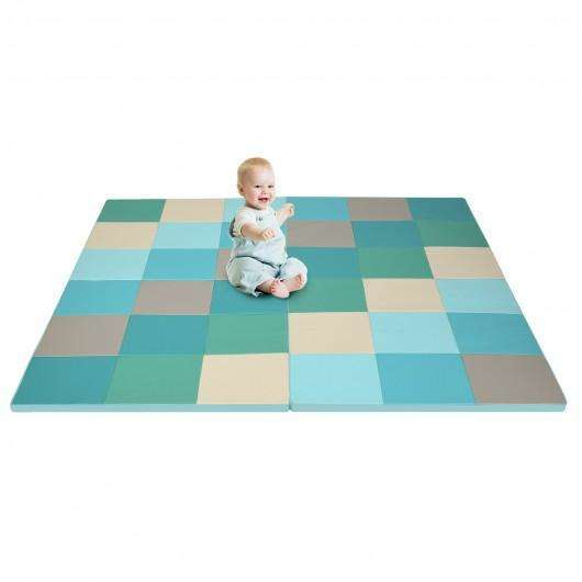 58'' Toddler Foam Play Mat Baby Folding Activity Floor Mat for Home and Daycare School-Light Blue