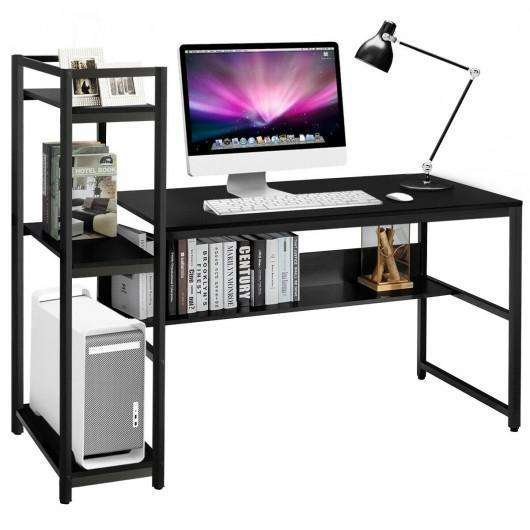 "59"" Computer Desk Home Office Workstation 4-Tier Storage Shelves-Black"