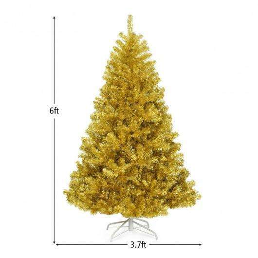 6'-7.5' Artificial Tinsel Christmas Tree Hinged with Foldable Stand-6 ft