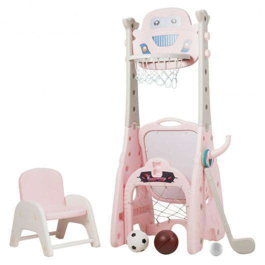 6-in-1 Adjustable Kids Basketball Hoop Set-Pink
