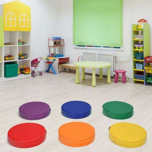 "6-Piece 15"" Round Toddler Floor Cushions -Multicolor"
