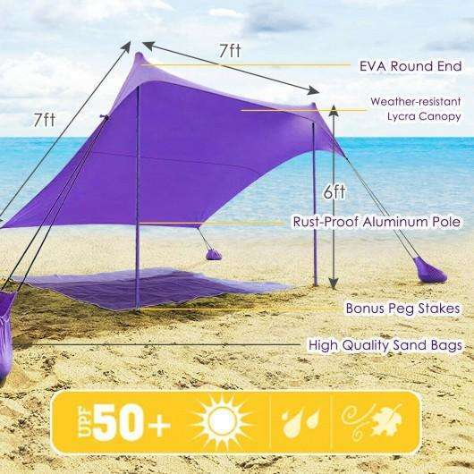 7' x 7' Family Beach Tent Canopy Sunshade w- 4 Poles-Purple