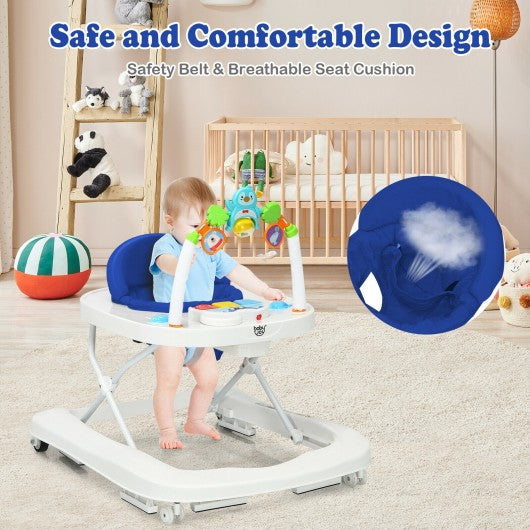 2-in-1 Foldable Baby Walker with Adjustable Heights-Blue