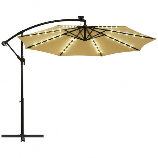 10 Ft Patio Solar LED Offset Umbrella with 40 Lights and Cross Base-Beige