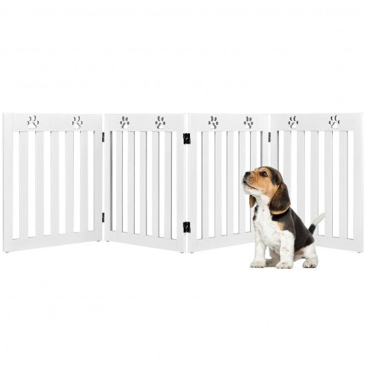 "24"" Folding Wooden Freestanding Pet Gate Dog Gate with 360° Hinge -White"