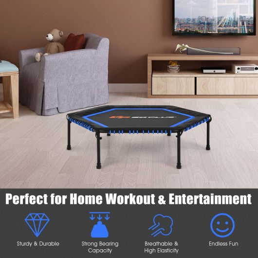 "50"" Hexagonal Fitness Trampoline Exercise Rebounder with Pad-Blue"