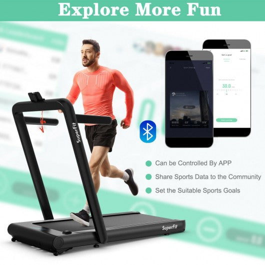 4.75HP 2 In 1 Folding Treadmill with Remote APP Control-Black