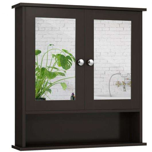 Bathroom Wall Mount Mirror Cabinet Organizer-Brown