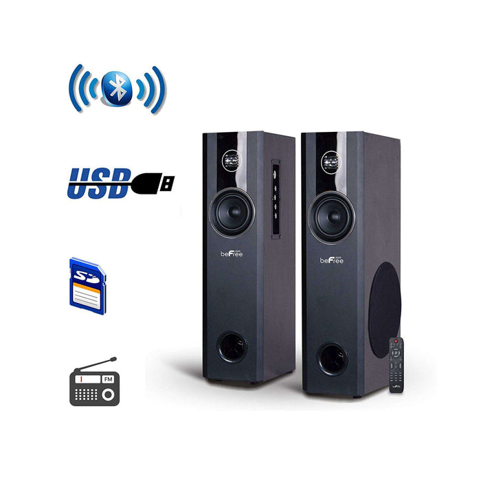 beFree Sound 2.1 Channel Bluetooth Powered Black Tower Speakers - Reconditioned