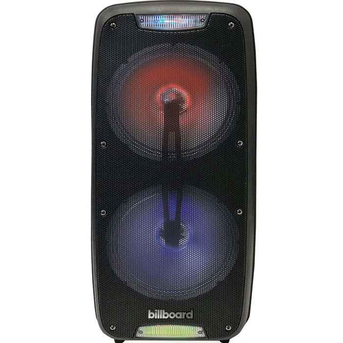 Billboard Multi-Colored LED Bluetooth Wireless Party Speakers with Enhanced Bass, 1500 Watts, USB/TF/AUX/Mic Input and Microphone