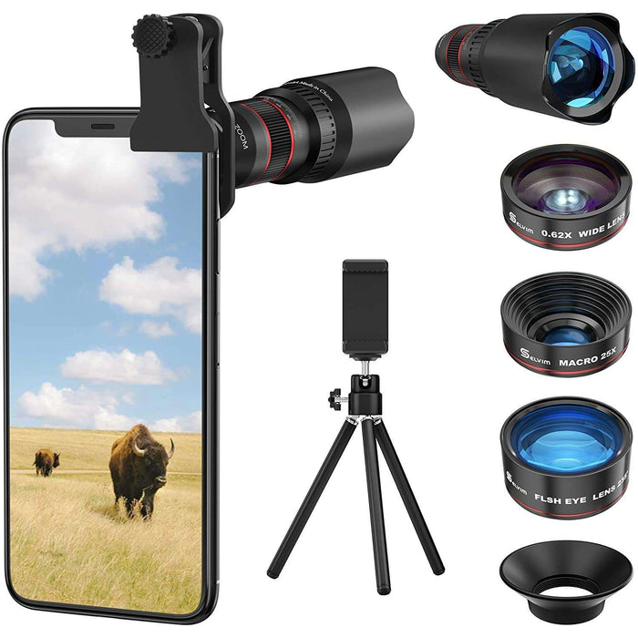 Brands Republic Phone Camera Lens Phone Lens Kit 4 in 1, 22X Telephoto Lens, 235° Fisheye Lens, 0.62X Wide Angle Lens, 25X Macro Lens, Compatible with iPhone 10 8 7 6 6s Plus X XS XR Samsung - Black