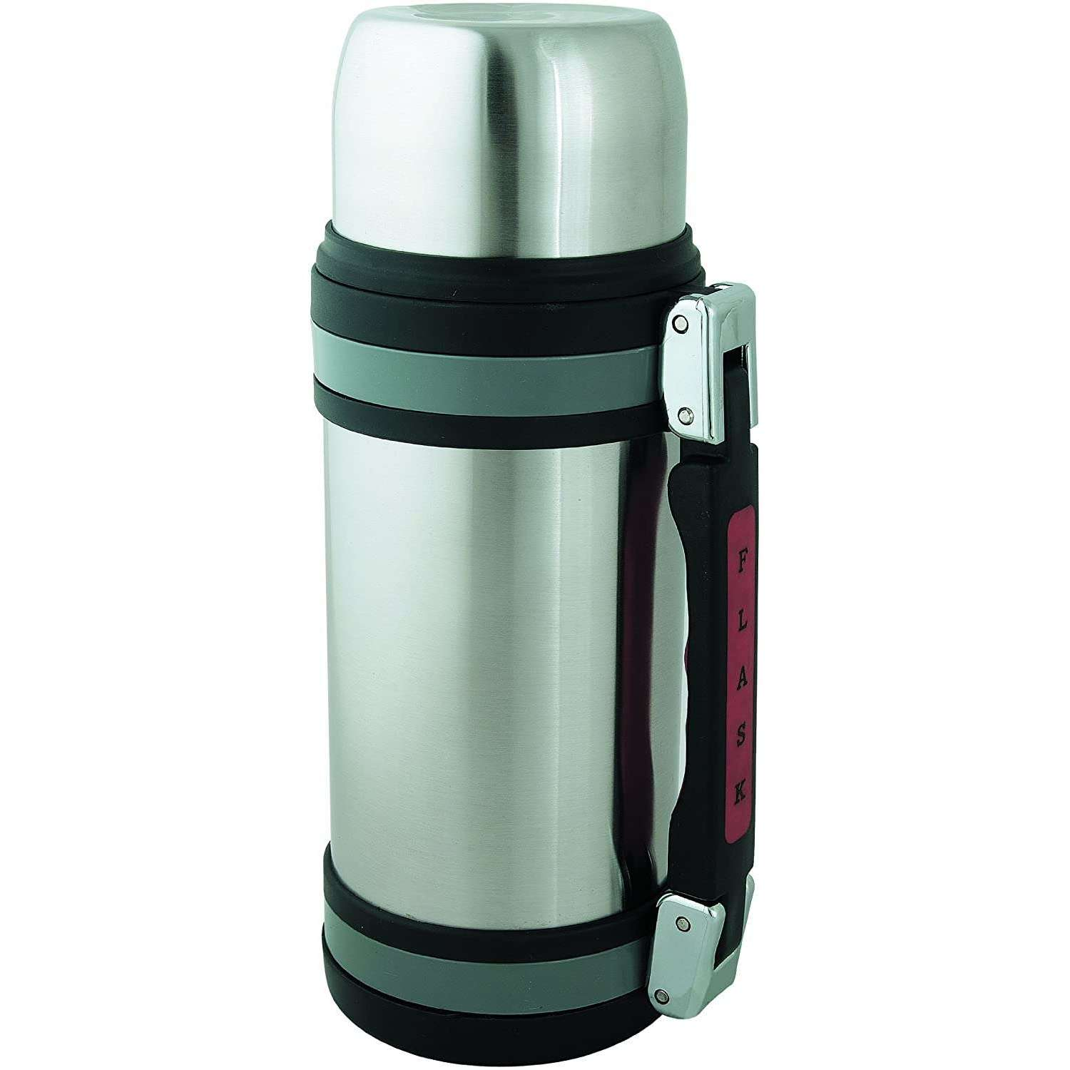 Brentwood Vacuum Stainless Steel Food and Beverage Bottle with Red Handle, 1.5-Liter