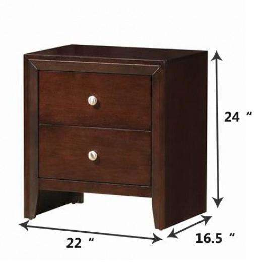 Brown 2 Drawers Sofa Side End Storage Nightstand