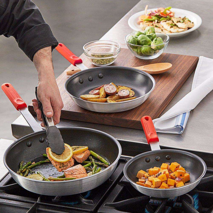 "Choice Long Lived 3-Pcs Aluminum Non-Stick Fry Pan Set w/ Red Silicone Handles-8""/10""/12"""