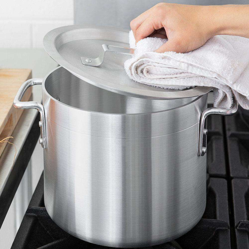 Choice 8-Piece Standard Weight Best Aluminum Stock Pot Set w/ 8/10/12/16 Qt. Pots & Pot Covers