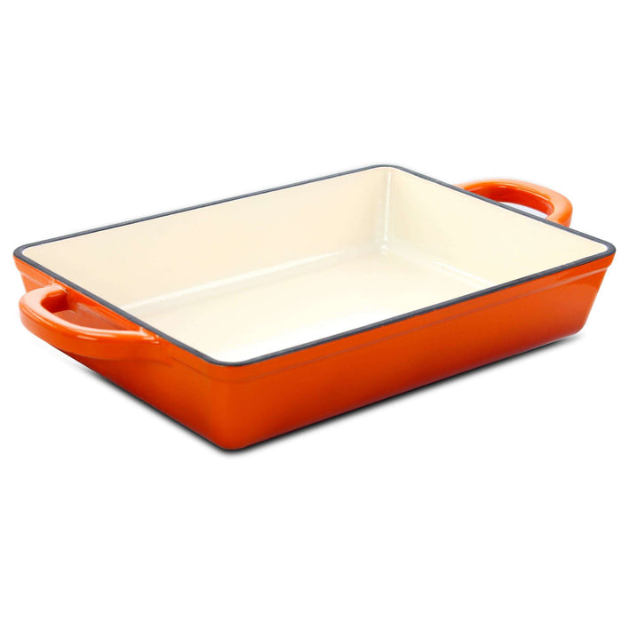 Crock Pot Artisan 13 in. Enameled Cast Iron Lasagna Pan in Sunset Orange