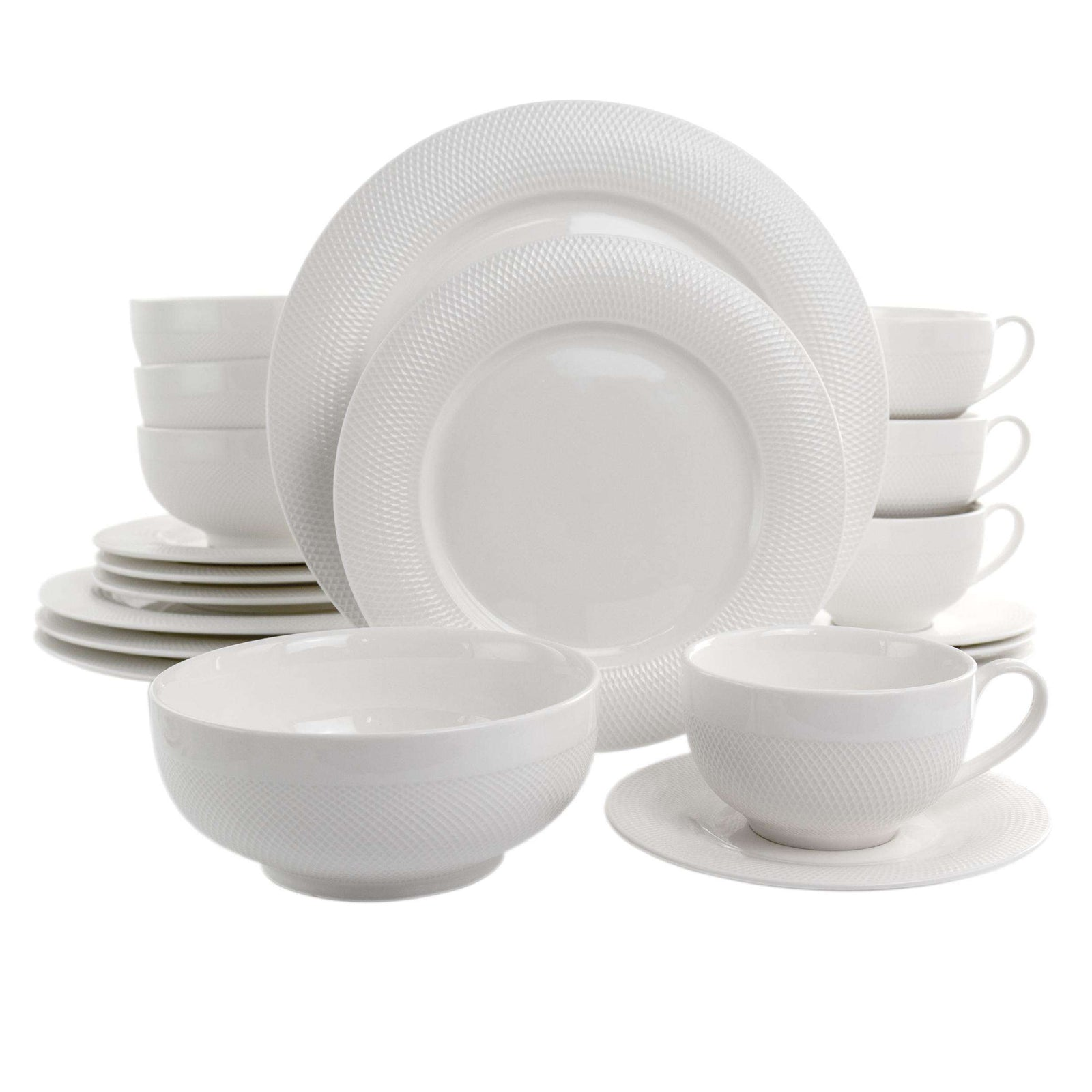 Elama Dione 20 Piece Porcelain Dinnerware Set in White